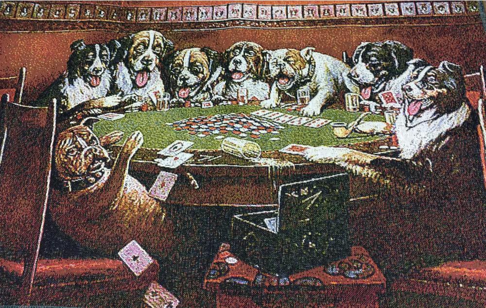 Area 51 Art Print WSOP Texas Holdem Dogs Playing Poker Game Room Wall Decor